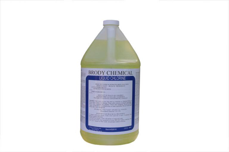 Gallon jug of Brody Chemical Liquid Chlorine disinfectant