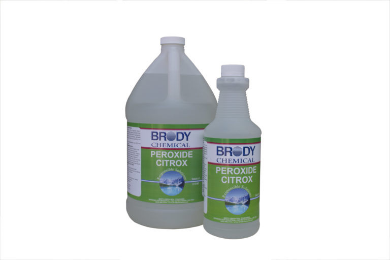 Containers of Brody Chemical's Peroxide Citrox product